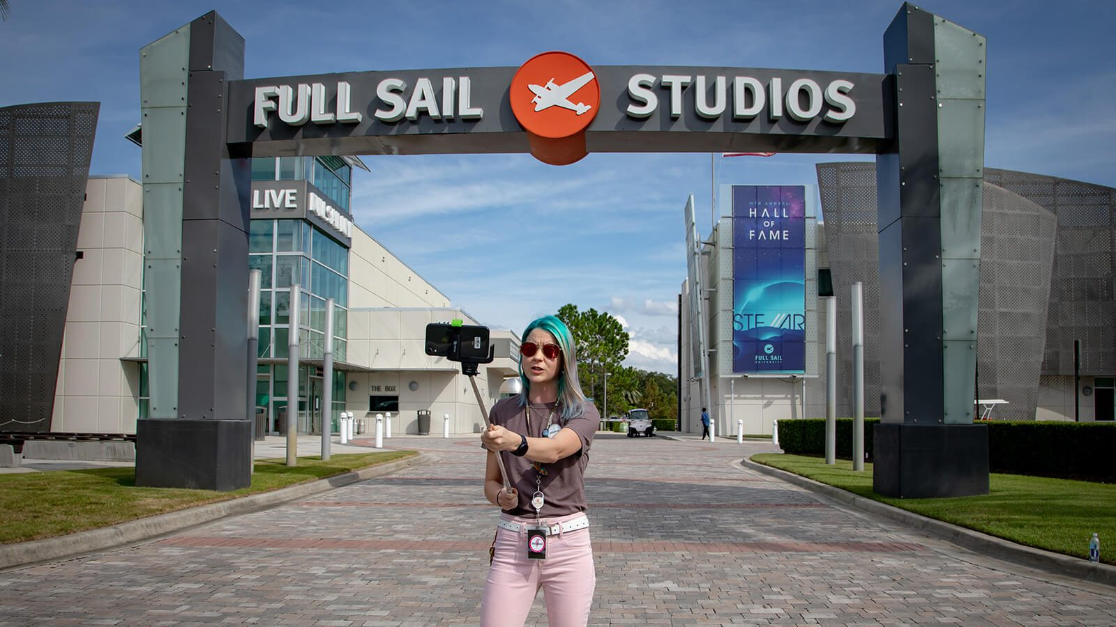 A Full Sail Tour Guide take prospective students on a virtual tour of the campus.